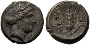 Lucania, Bronze, Metapontion, c. 300-250 BC; ...