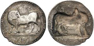 Lucania, Stater, Sybaris, c. 550-510 BC; AR ...