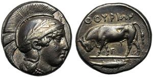 Lucania, Stater, Thourioi, c. 443-400 BC; AR ...