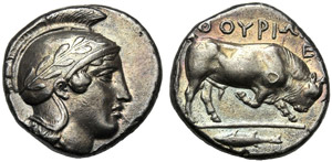 Lucania, Stater, Thourioi, c. 443-440 BC; AR ...
