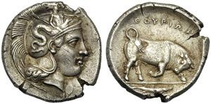 Lucania, Stater, Thourioi, c. 400-350 BC; AR ...