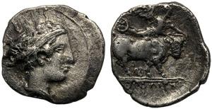 Campania, Obol, Neapolis, c. 420-400 BC; AR ...