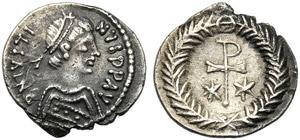 Justin II (565-578), Half Siliqua, Ravenna, ...