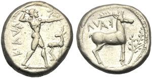 Bruttium, Stater, Kaulonia, c. 450 BC; AR (g ...