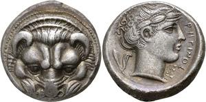 Bruttium, Tetradrachm, Rhegion, signed by ...