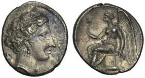 Bruttium, Drachm, Terina, c. 300 BC; AR (g ...
