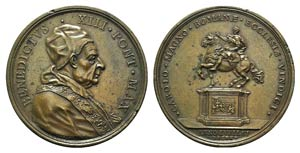 Papal, Benedetto XIII (1724-1730). Æ Medal ...