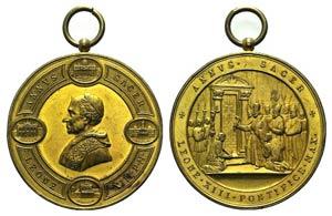 Papal, Leone XIII (1878-1903). Gilt Æ Medal ...