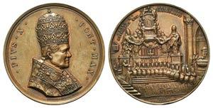 Papal, Pio X (1903-1914). Æ Medal 1906 ...