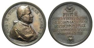 Papal, Pio X (1903-1914). Æ Medal 1954 ...