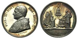 Papal, Pio XI (1922-1939). AR Medal 1923 ...