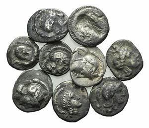 Magna Graecia, lot of 9 AR fractions, to be ...