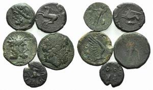 Magna Graecia and Sicily, lot of 5 Æ coins, ...
