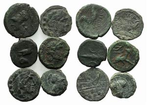 Mixed lot of 6 Æ coins, including 4 Greek ...