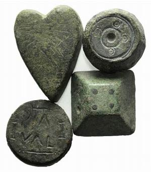 Lot of 4 Æ Byzantine and Medieval Weights. ...