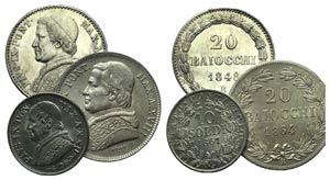 Papal, Pio IX, lot of 3 AR coins (20 ...