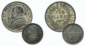 Papal, Pio IX, lot of 2 AR coins (1 Lira ...