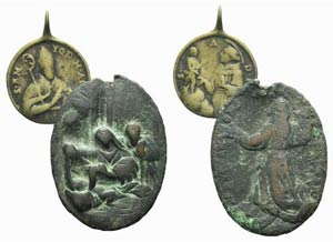 Lot of 2 Religious Medal (35-49mm), one ...