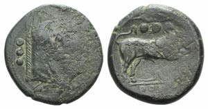Anonymous, Sicily, c. 214 BC. Æ Quadrans ...