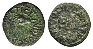 Claudius (41-54). Æ Quadrans (17mm, 2.46g, ...
