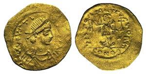 Justin I (518-527). AV Tremissis (14mm, ...