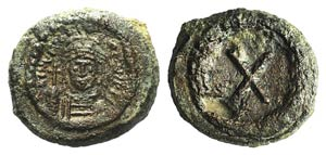 Justinian I (527-565). Æ 10 Nummi (16mm, ...