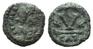 Maurice Tiberius (582-602). Æ 5 Nummi ...
