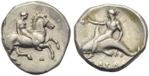 Apulia, Tarentum, Nomos, c. 380-340 BC; AR ...