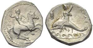 Apulia, Tarentum, Nomos, c. 332-302 BC; AR ...