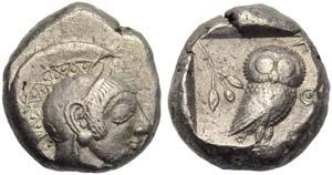 Attica, Athens, Tetradrachm, c. 500-480 BC; ...
