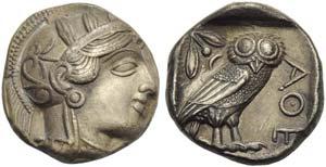Attica, Athens, Tetradrachm, c. 454-404 BC; ...