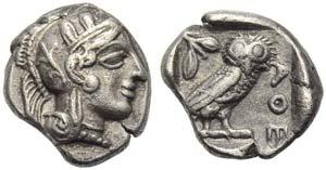 Attica, Athens, Drachm, c. 454-404 BC; AR (g ...