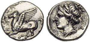 Corinthia, Corinth, Drachm, c. 350-300 BC; ...