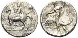 Apulia, Tarentum, Nomos, c. 240-228 BC; AR ...