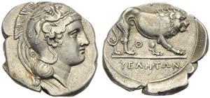 Lucania, Velia, Didrachm, c. 340-334 BC; AR ...