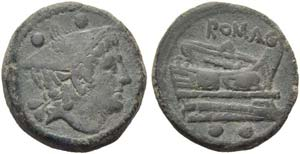 Anonymous, Sextans, Rome, c. 217-215 BC; AE ...
