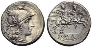 Anonymous, Denarius, Rome, post 215-214 BC; ...