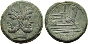Anonymous, As, Rome, c. 206-190 BC; AE (g ...