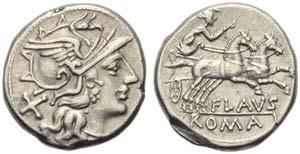 Decimius Flavus, Denarius, Rome, 150 BC; AR ...