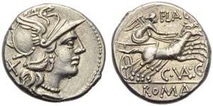 C. Valerius C.f. Flaccus, Denarius, Rome, ...
