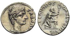 Augustus (27 BC - AD 14), Denarius, Rome, 12 ...