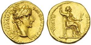 Tiberius (14-37), Aureus, Lugdunum, AD ...