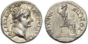 Tiberius (14-37), Denarius, Lugdunum, AD ...