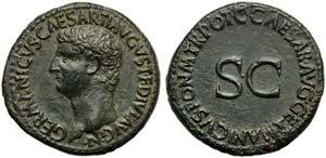 Germanicus, father of Caligula, As, Rome, AD ...