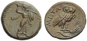 Lucania, Metapontion, Bronze, c. 225-200 BC; ...