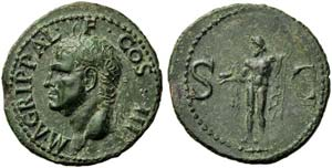 Agrippa, General of Augustus, As, Rome, AD ...