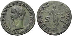 Claudius (41-54), As, Rome, AD 42-43; AE (g ...