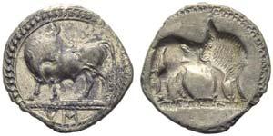 Lucania, Sybaris, Drachm, c. 550-510 BC; AR ...