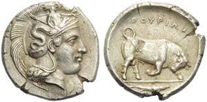 Lucania, Thurium, Stater c. 380-340 BC; AR ...