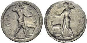 Bruttium, Caulonia, Stater, c. 525-500 BC; ...
